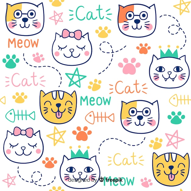 Colorful doodle cats and words pattern Free Vector