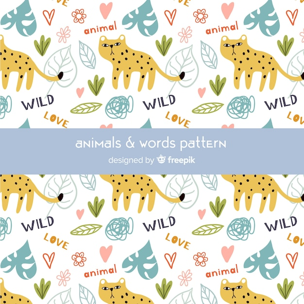 Colorful doodle cheetahs and words pattern Free Vector