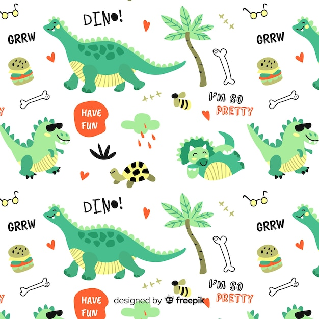 Colorful doodle dinosaurs and words pattern Free Vector