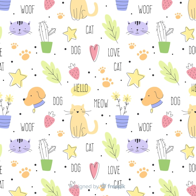 Colorful doodle domestic animals and words pattern Free Vector