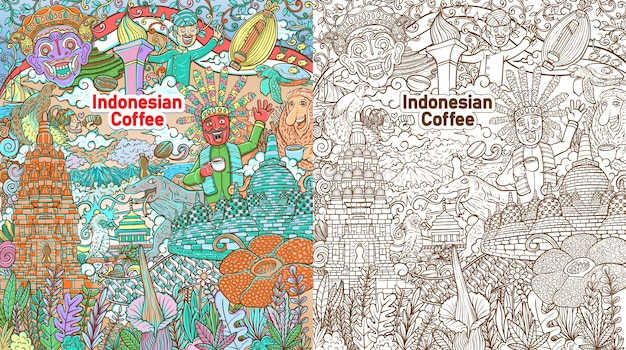 Colorful doodle indonesian java coffee colorful  background Premium Vector