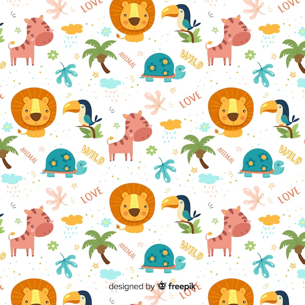 Colorful doodle jungle animals and words pattern Free Vector