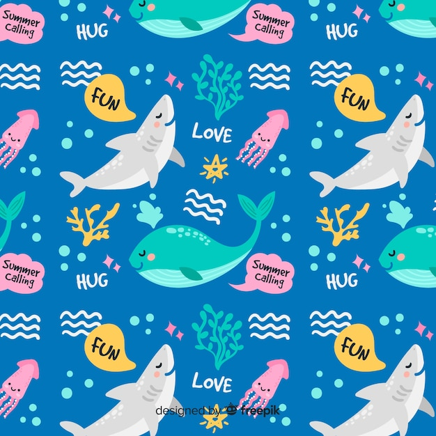 Colorful doodle sea animals and words pattern Free Vector