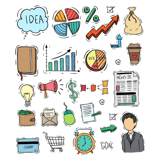 Colorful doodle style of business icons colection on white background Premium Vector