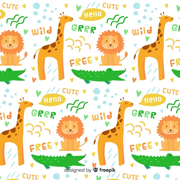 Colorful doodle wild animals and words pattern Free Vector