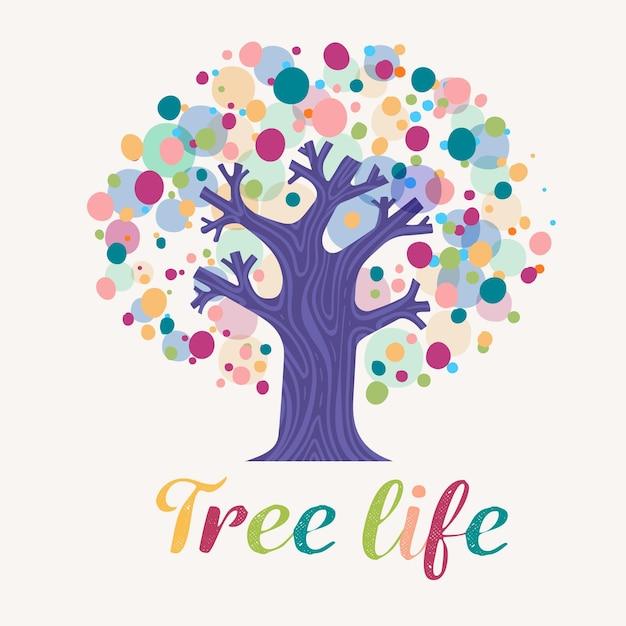 Colorful dots tree life logo Premium Vector