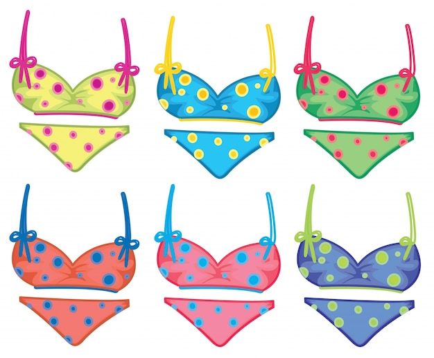 Colorful dotted bikinis Free Vector