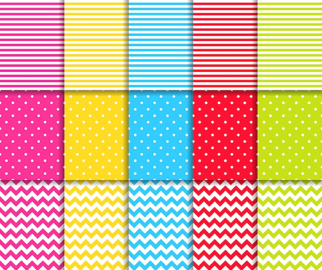 Colorful dotted and striped seamless patterns set Premium Vector