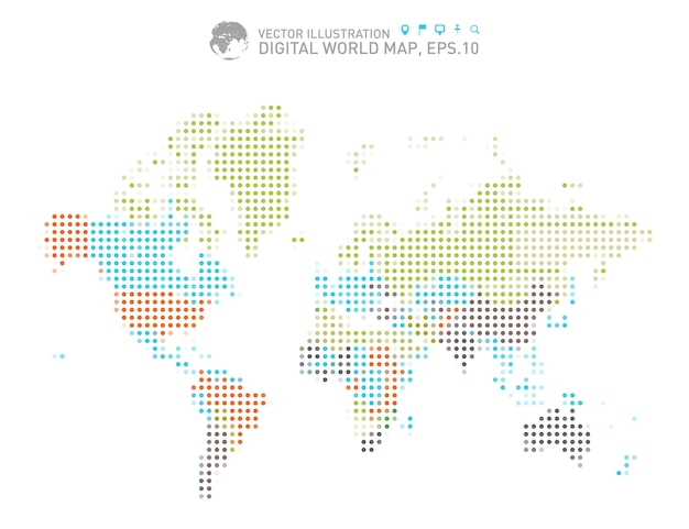 Colorful dotted world map Premium Vector