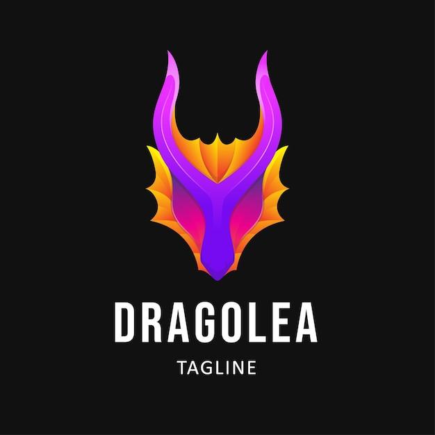 Красочный дракон дизайн логотипа иллюстрация Premium векторы