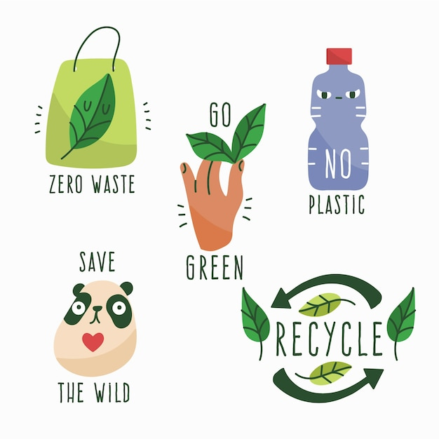 Colorful drawing of ecology badge collection Free Vector