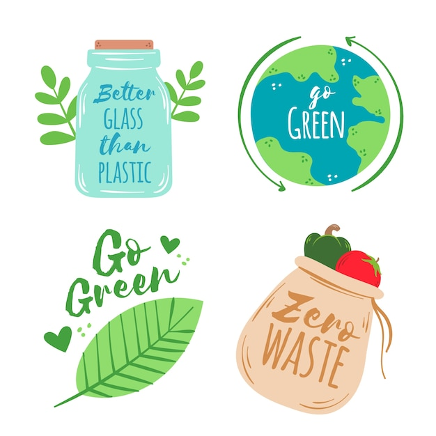 Colorful drawing of ecology badges Free Vector