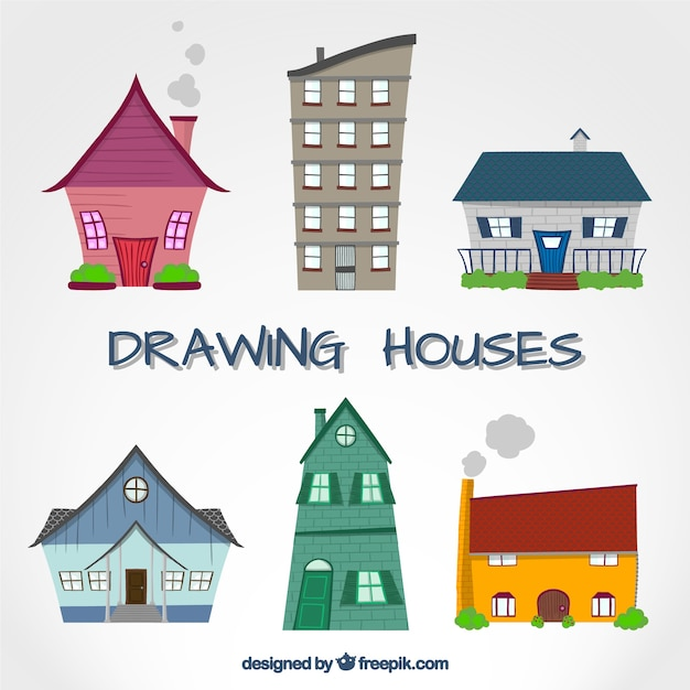 Colorful Drawing Houses Free Vector