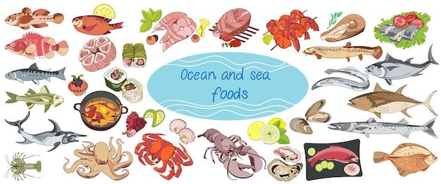 Collezione di cibo marino disegno colorato Vettore gratuito