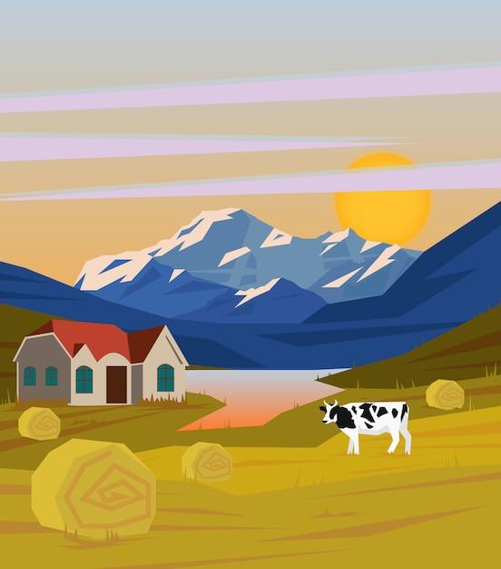 Modello di paesaggio rurale disegno colorato Vettore gratuito