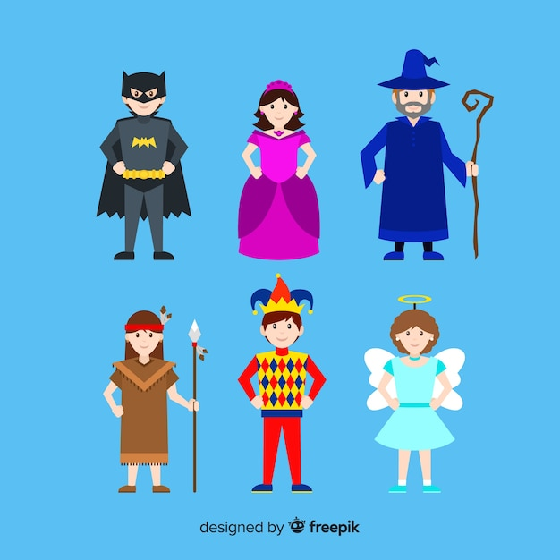 Colorful dressed up people collection Free Vector