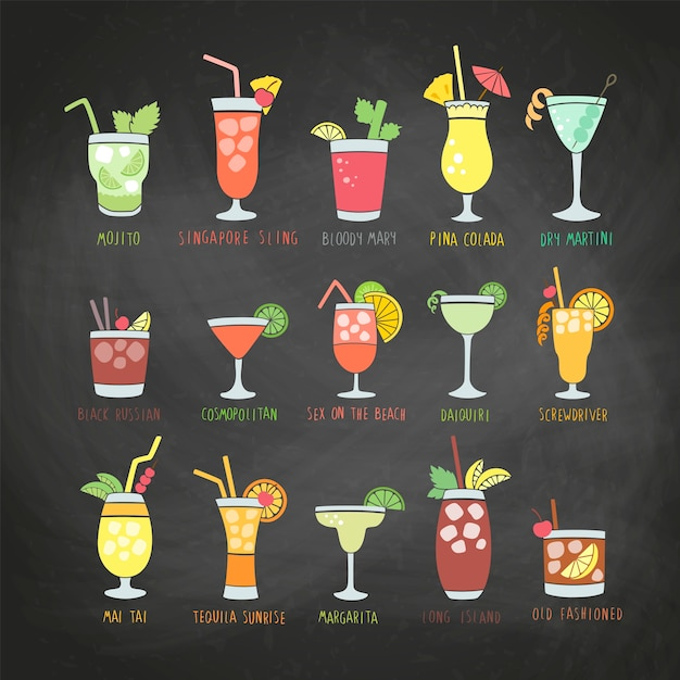Colorful drinks set with the names of the coctails on a chalkboard Premium Vector