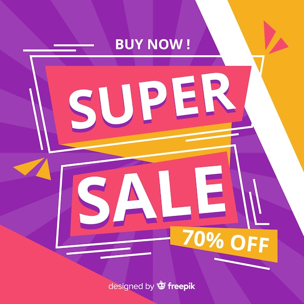 Colorful dynamic sales background flat design Free Vector