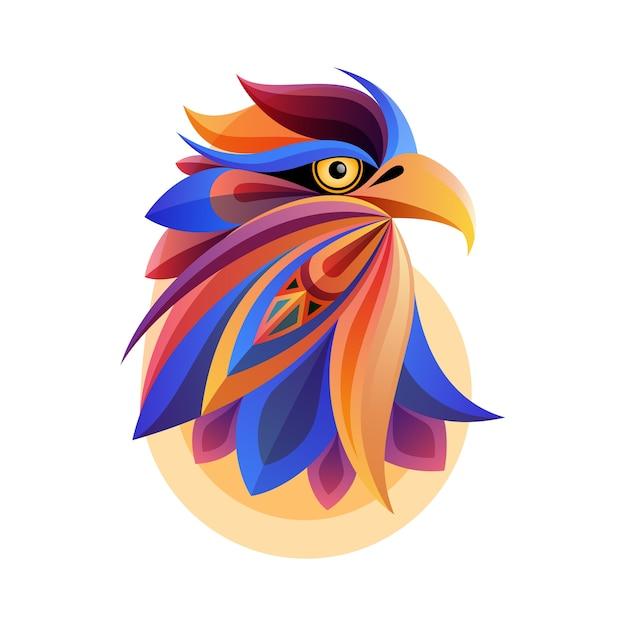 Красочное произведение искусства головы орла абстрактное с белой предпосылкой. идеально подходит для печати на футболке, открытки или плаката Premium векторы