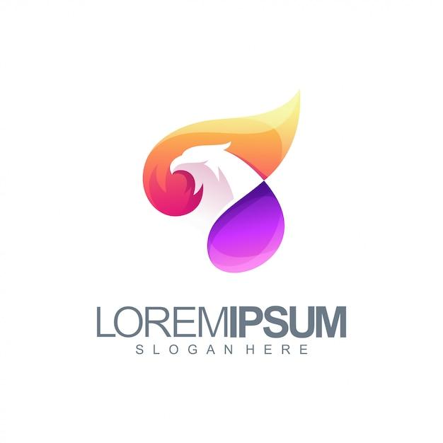 Colorful eagle logo illustration Premium Vector