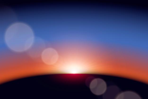 Colorful earth sunrise light effect Free Vector