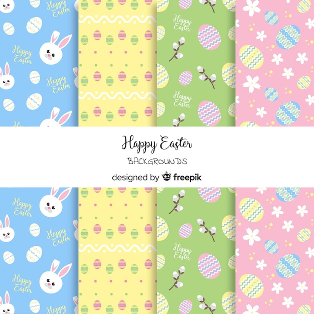 Colorful easter day pattern collection Free Vector