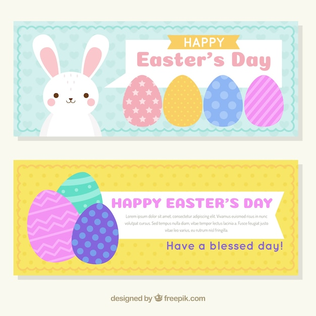 Colorful easter eggs banners and bunny