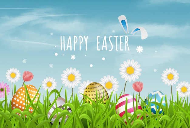 Colorful easter eggs line and spring flowers in grass with beautiful sky. happy easter Premium Vector