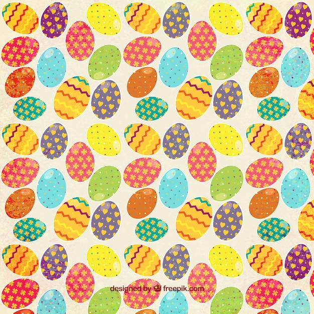 Colorful Easter Eggs Pattern Vector