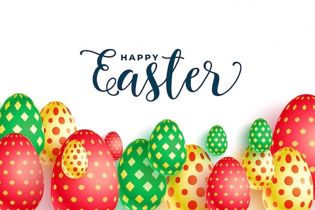 カラフルなイースター柄の卵祭りの背景デザイン 無料ベクター