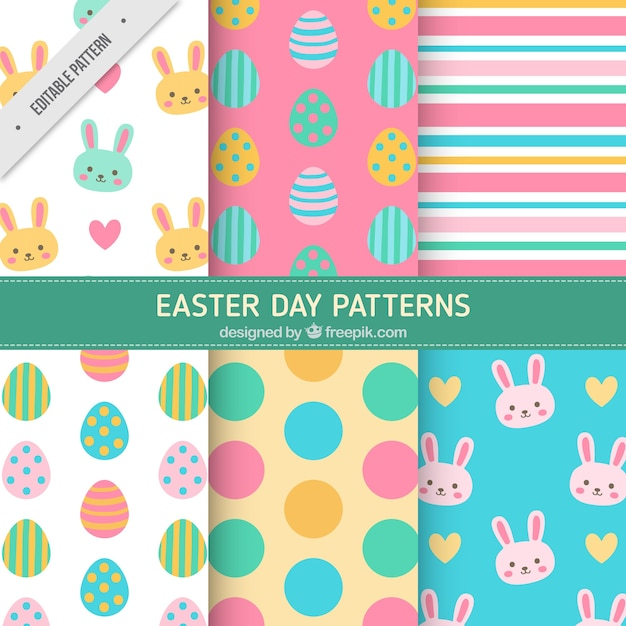 Colorful easter patterns in flat design Free Vector