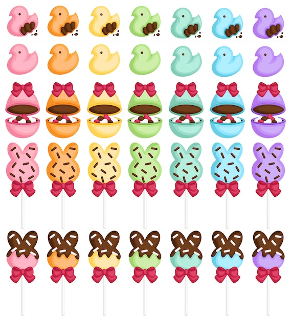 Colorful easter sweets Premium Vector