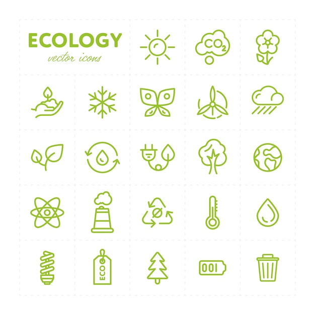 Colorful ecological icons in set Premium Vector