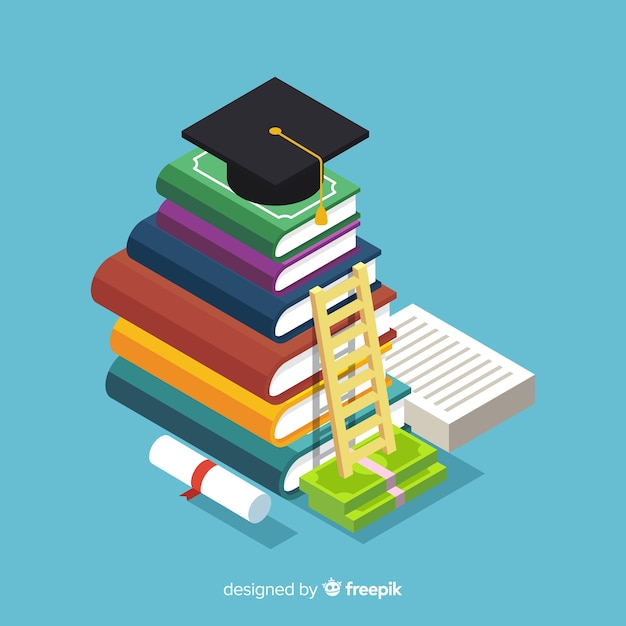 Colorful educaction concept with isometric view Free Vector
