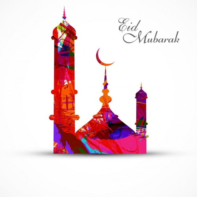 Colorful eid mubarak background Free Vector