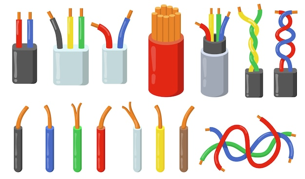 Colorful electric cables set. colorful short pieces of wires with copper core. Free Vector