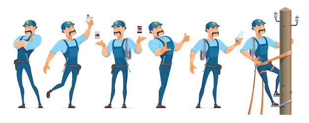 Colorful electrician characters set in different poses with professional equipment and master working on power pole isolated Free Vector