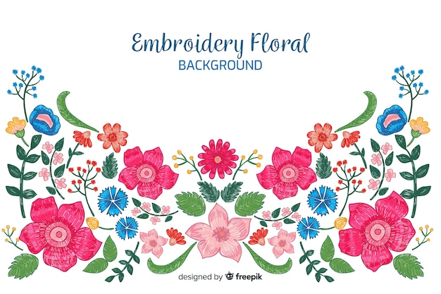 Colorful embroidery floral background Free Vector