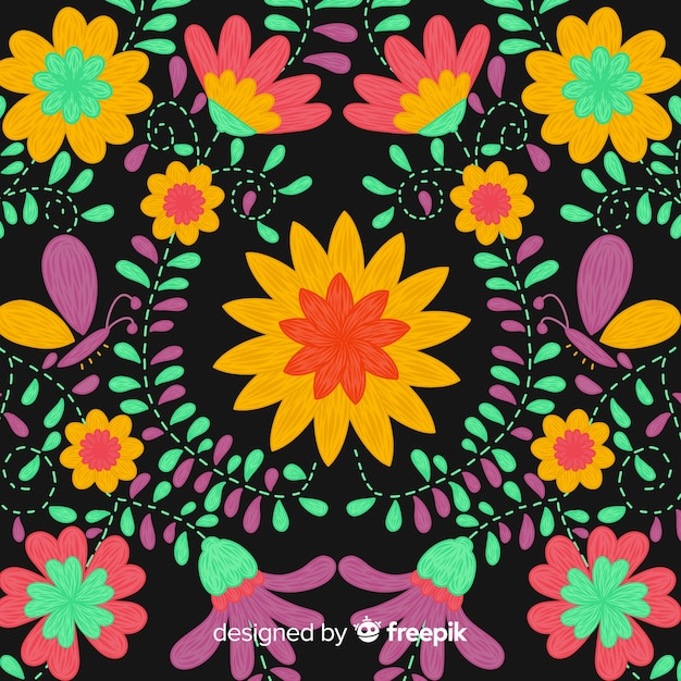 Colorful embroidery mexican floral background Free Vector