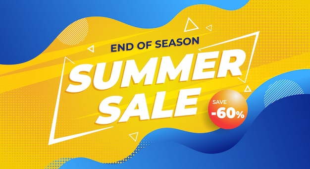 Colorful end of summer sale banner background Premium Vector