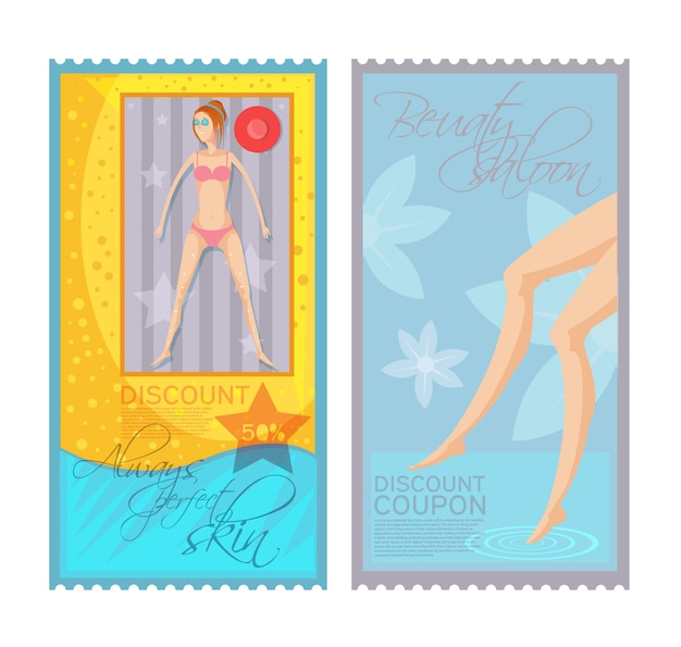 Colorful epilation discount coupon tickets set with young woman and female legs isolated on white background Free Vector
