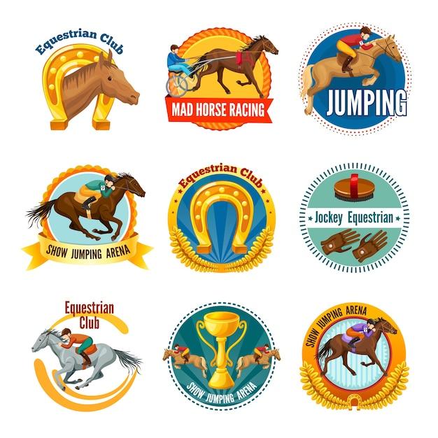 カラフルな馬術スポーツバッジとロゴ 無料ベクター