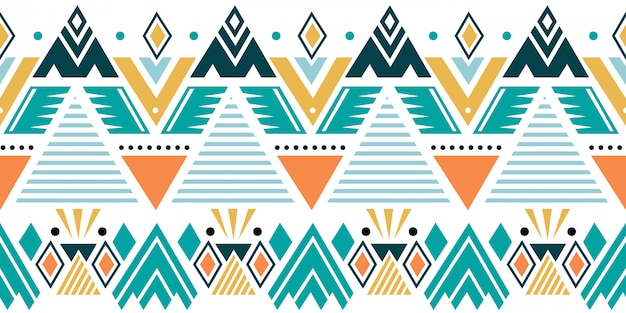 Colorful ethnic seamless pattern with tribal geometric motifs Premium Vector