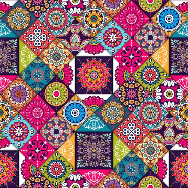 Colorful ethnic tiles pattern Free Vector