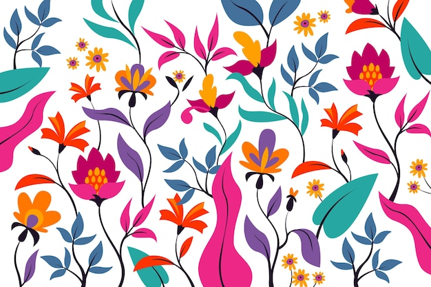 Colorful exotic floral background concept Free Vector
