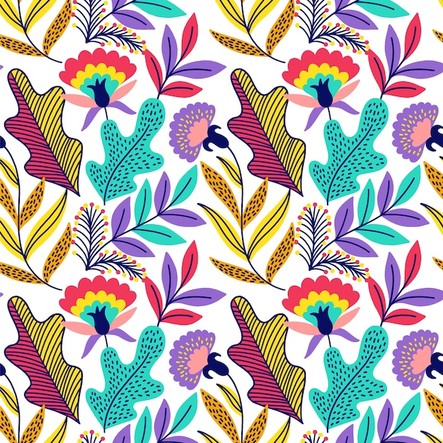 Colorful exotic floral background Free Vector