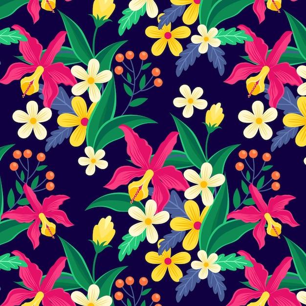 Красочные экзотические цветы и листья узор Бесплатные векторы