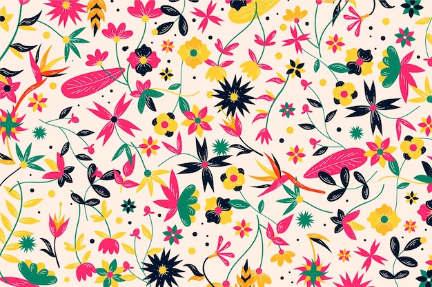 Colorful exotic flowers background Free Vector