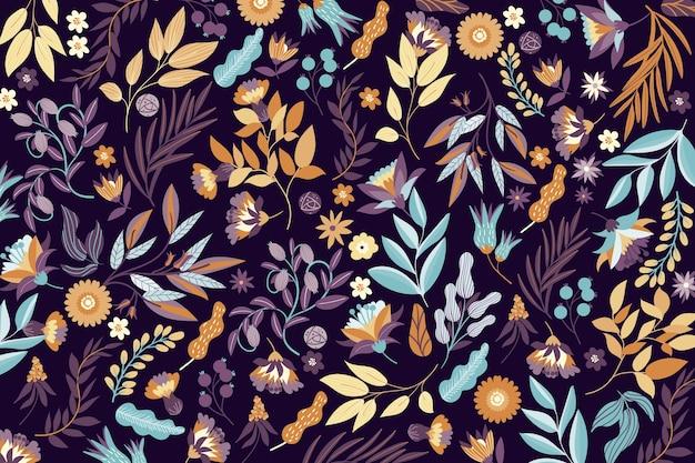 Carta da parati colorata fiori esotici Vettore gratuito