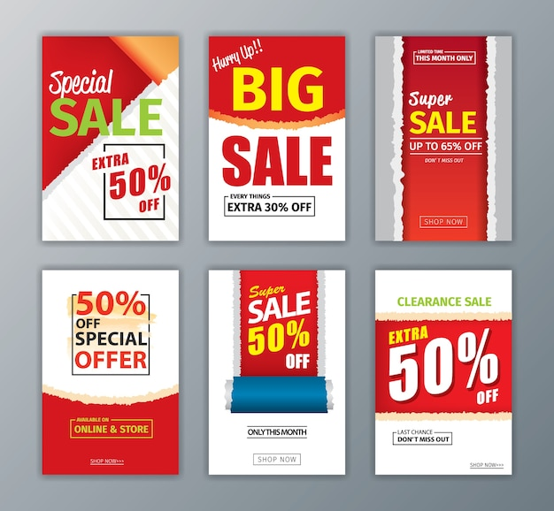 colorful eye catching social media ads banner collection ate set